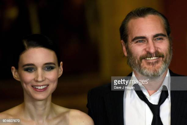 Rooney Mara and Joaquin Phoenix attend the 'Mary Magdalene' special screening held at The National Gallery on February 26 2018 in London England