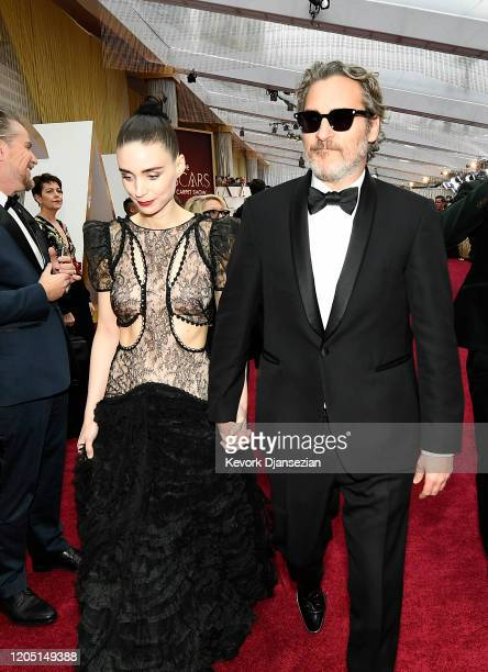 Rooney Mara and Joaquin Phoenix attends the 92nd Annual Academy Awards at Hollywood and Highland on February 09 2020 in Hollywood California