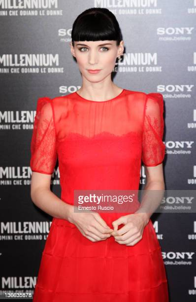 Rooney Mara attends the 'The Girl With The Dragon Tattoo' premiere at Cinema Embassy on January 9 2012 in Rome Italy