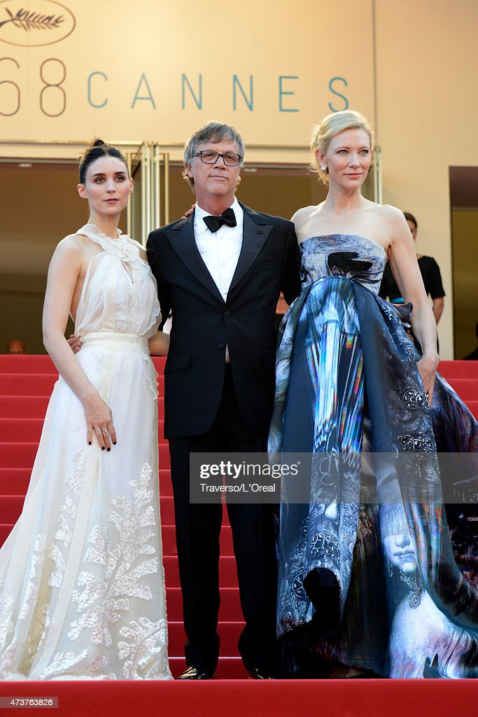 Rooney Mara, director Todd Haynes and Cate Blanchett attend the Premiere of 'Carol' during the 68th annual Cannes Film Festival on May 17, 2015 in Cannes, France.