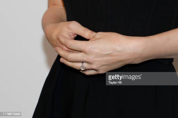 """Rooney Mara, engagement ring detail, attends a New York screening of """"Joker"""" during the 57th annual New York Film Festival at Alice Tully Hall,..."""