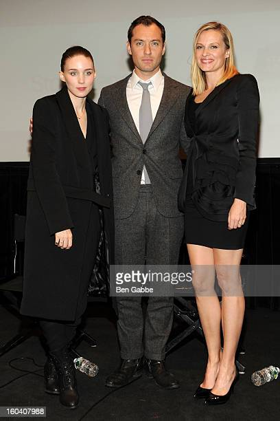 Rooney Mara Jude Law and Vinessa Shaw attend the Side Effects preview screening at Walter Reade Theater on January 30 2013 in New York City