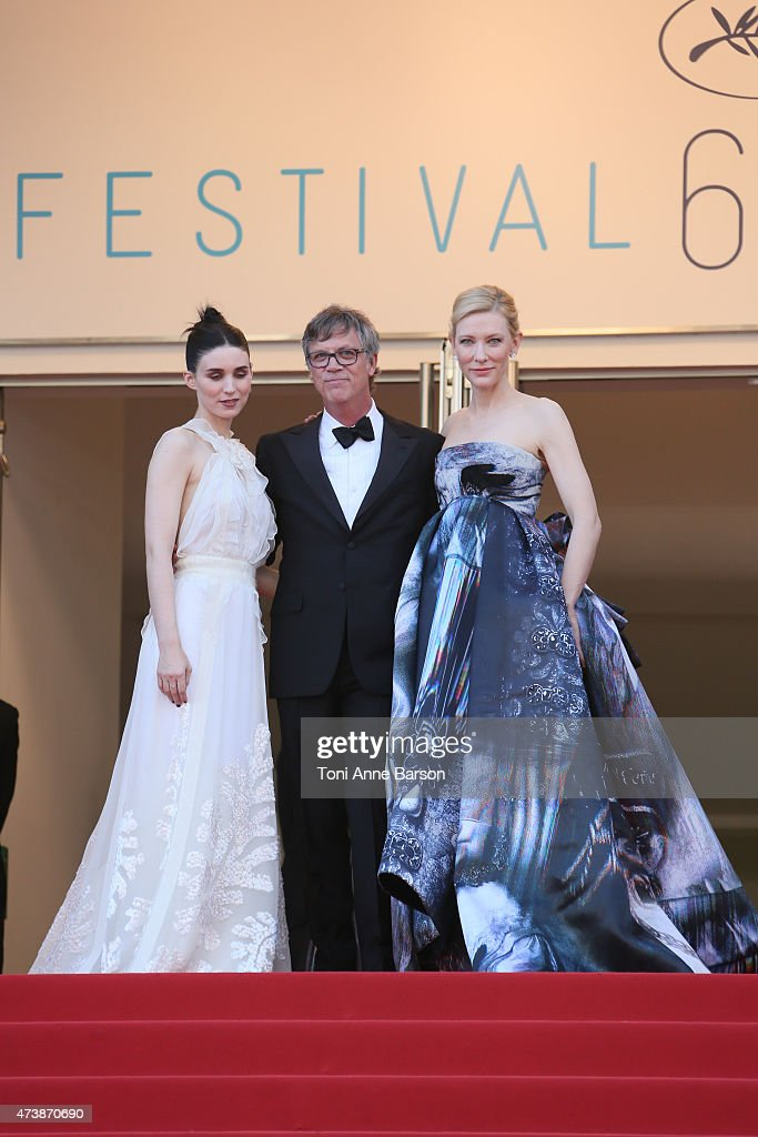 Rooney Mara, Todd Haynes and Cate Blanchett attend the 'Carol' premiere during the 68th annual Cannes Film Festival on May 17, 2015 in Cannes, France.