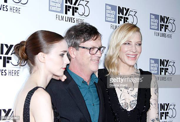 Rooney Mara Todd Haynes and Cate Blanchett attend the Carol screening during the New York Film Festival at Alice Tully Hall Lincoln Center on October...