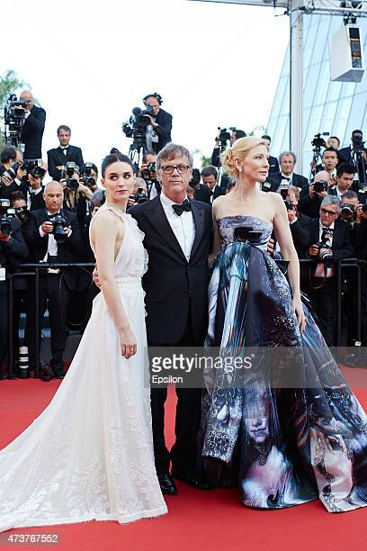 Rooney Mara Todd Haynes Cate Blanchett attend the Premiere of 'Carol' during the 68th annual Cannes Film Festival on May 17 2015 in Cannes France