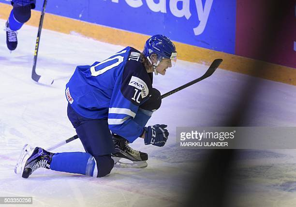 Roope Hintz of Finland celebrates after scoring 11 during the 2016 IIHF World Junior Ice Hockey Championship semifinal match between Sweden and...