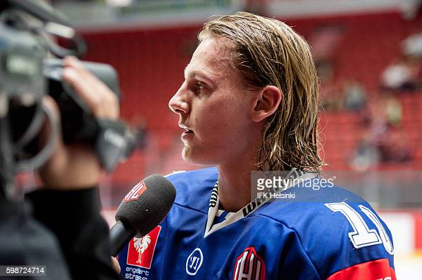 Roope Hintz of IFK Helsinki during the Champions Hockey League match between IFK Helsinki and EV Zug at Helsingin Jaahalli on September 2 2016 in...