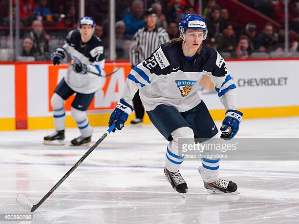Roope Hintz of Team Finland skates during the 2015 IIHF World Junior Hockey Championship game against Team United States at the Bell Centre on...