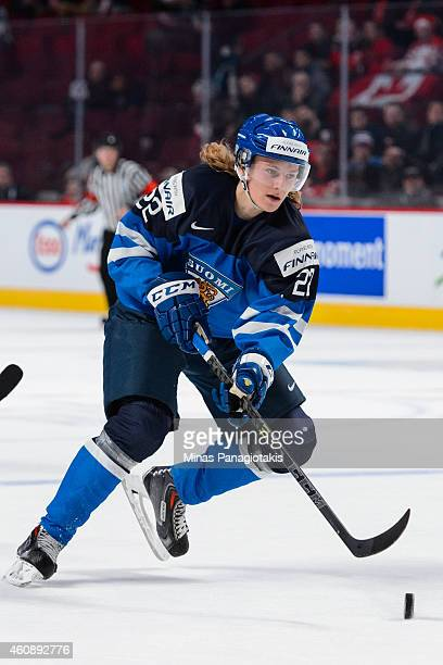 Roope Hintz of Team Finland skates with the puck during the 2015 IIHF World Junior Hockey Championship game against Team Slovakia at the Bell Centre...