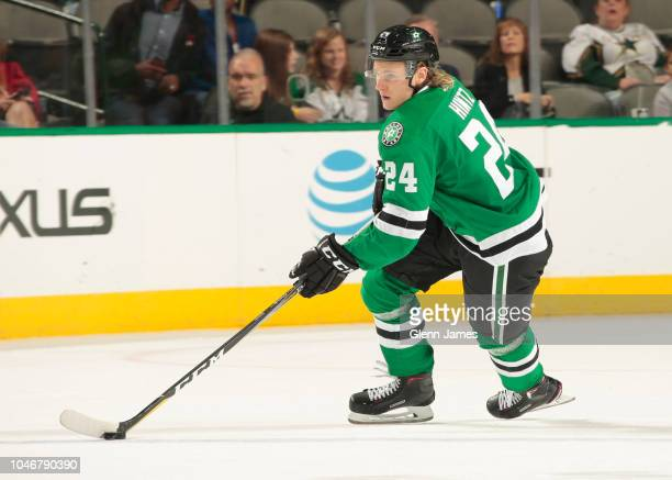 Roope Hintz of the Dallas Stars handles the puck against the Winnipeg Jets at the American Airlines Center on October 6 2018 in Dallas Texas