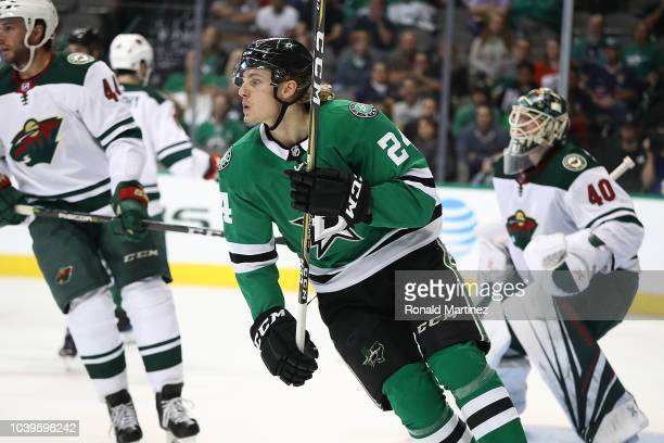 Roope Hintz of the Dallas Stars skates against the Minnesota Wild during a preseason game at American Airlines Center on September 24 2018 in Dallas...
