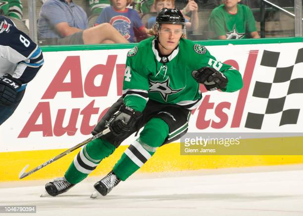 Roope Hintz of the Dallas Stars skates against the Winnipeg Jets at the American Airlines Center on October 6 2018 in Dallas Texas