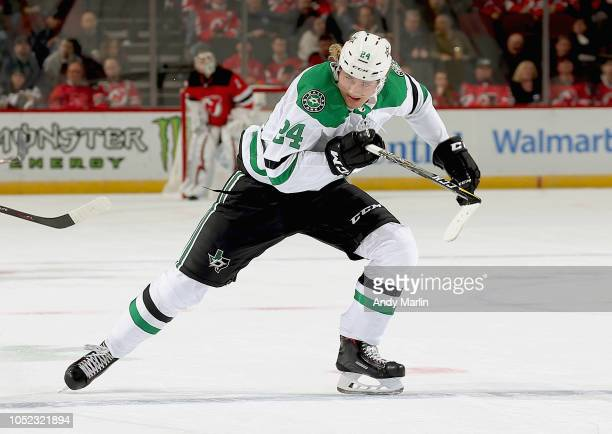 Roope Hintz of the Dallas Stars skates during the game against the New Jersey Devils at Prudential Center on October 16 2018 in Newark New Jersey