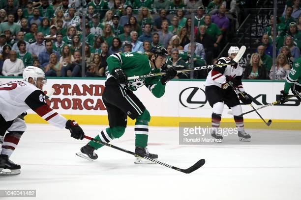 Roope Hintz of the Dallas Stars skates in his first NHL game against the Arizona Coyotes at American Airlines Center on October 4 2018 in Dallas Texas