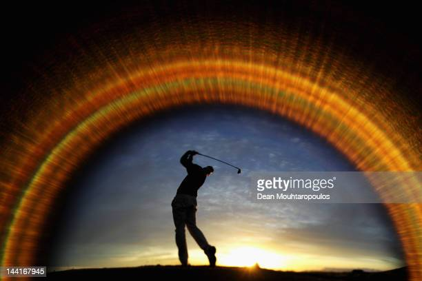 Roope Kakko of Finalnd warms up on the driving range prior to Day Two of the Madeira Islands Open at Santo da Serra Golf Course on May 11 2012 in...