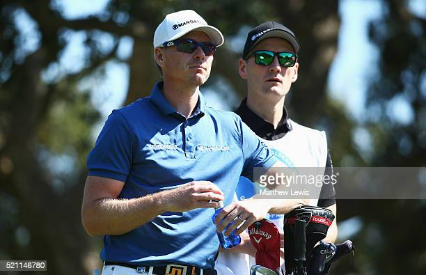 Roope Kakko of Finland and his caddie look on from the 2nd tee during day one of the Open de Espana at Real Club Valderrama on April 14 2016 in...