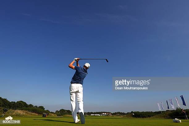 Roope Kakko of Finland hits his tee shot on the 9th during the first round on day one of the KLM Open at The Dutch on September 8 2016 in Spijk...