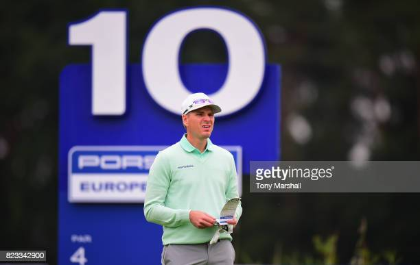 Roope Kakko of Finland loines up his first shot on the 10th tee during the Porsche European Open Day One at Green Eagle Golf Course on July 27 2017...