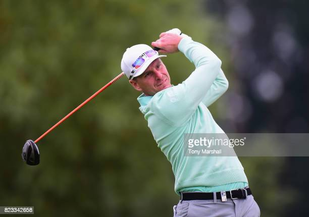 Roope Kakko of Finland plays his first shot on the 10th tee during the Porsche European Open Day One at Green Eagle Golf Course on July 27 2017 in...