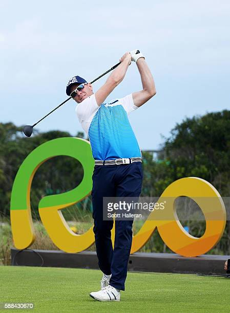 Roope Kakko of Finland plays his shot from the 16th tee during the first round of men's golf on Day 6 of the Rio 2016 Olympics at the Olympic Golf...