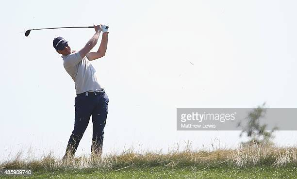 Roope Kakko of Finland plays out of the rough on the 1st hole during day four of the DD Real Czech Masters at the Albatross Golf Resort on August 30...
