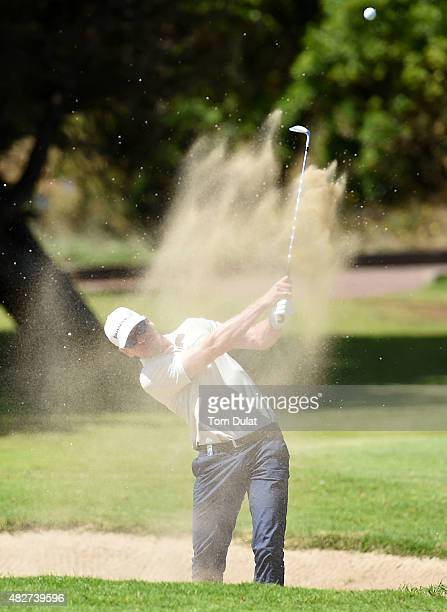 Roope Kakko of Finland plays out the bunker on the 3rd hole during day four of the Madeira Islands Open Portugal BPI at Club de Golf do Santo da...
