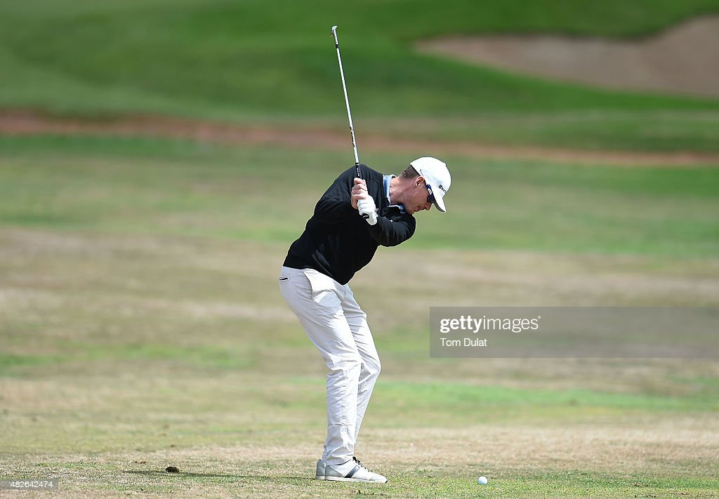 Roope Kakko of Finland takes a shot from the first fairway during day three of the Madeira Islands Open - Portugal - BPI at Club de Golf do Santo da Serra on August 1, 2015 in Funchal, Madeira, Portugal.