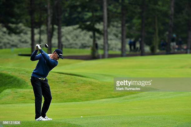 Roope Kakko of Finland takes his second shot on hole 11 on day two of the Aberdeen Asset Management Paul Lawrie Matchplay at Archerfield Links Golf...