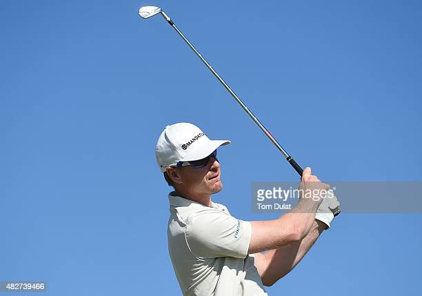 Roope Kakko of Finland tees off from the 1st hole during day four of the Madeira Islands Open Portugal BPI at Club de Golf do Santo da Serra on...