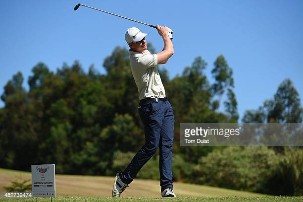 Roope Kakko of Finland tees off from the 3rd hole during day four of the Madeira Islands Open Portugal BPI at Club de Golf do Santo da Serra on...