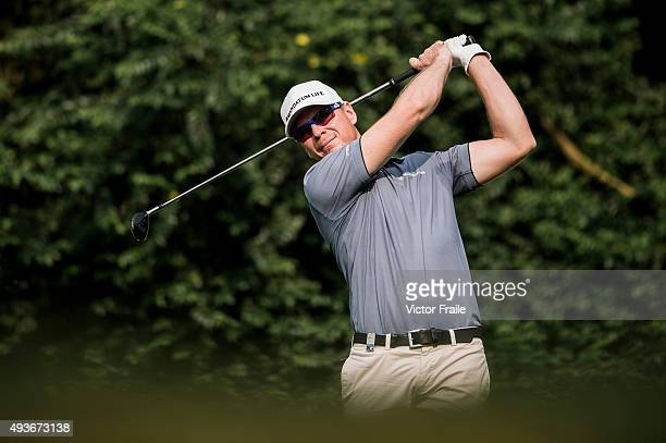 Roope Kakko of Finland tees off on the 15th hole during the first round of the UBS Hong Kong Open at the Hong Kong Golf Club on October 22 2015 in...
