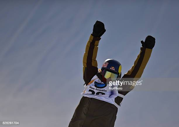 Roope Tonteri from Finland celebrates his BRONZE in Men's Snowboard Slopestyle at the FIS Snowboard World Championship 2015 in Kreischberg Austria 21...