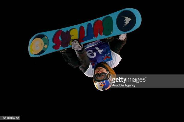 Roope Tonteri of Finland performs in the big air final as part of the Grand Prix de Russie 2017 international snowboard tour in Moscow Russia on...