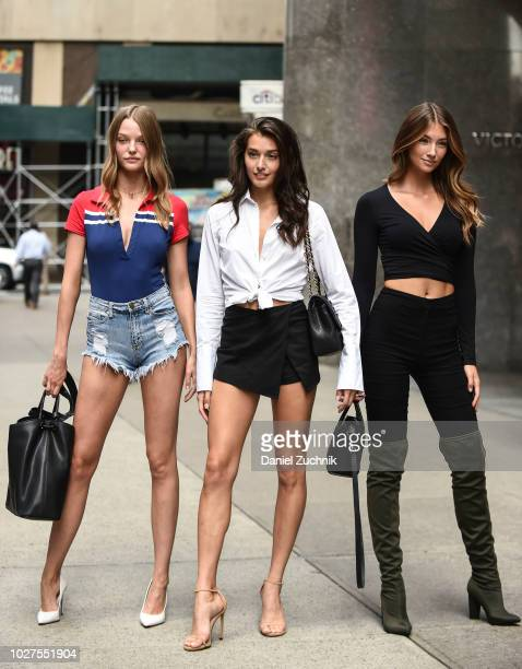 Roos Abels Jessica Clements and Lorena Rae attend the casting for the 2018 Victoria's Secret Show in Midtown on September 5 2018 in New York City