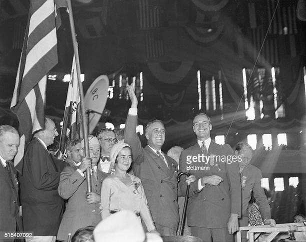 Roosevelt Acknowledges Cheers On the platform of the Democratic convention as he acknowledges the cheers of the delegates who had nominated him for...
