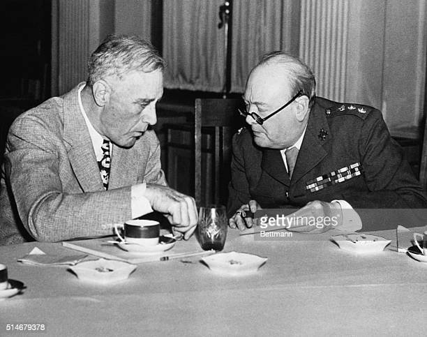 Roosevelt and Churchill talk between themselves at the Yalta Conference
