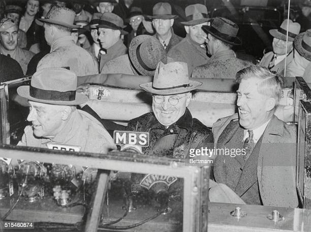 Roosevelt FD seated Prof in car with Wallace and Truman
