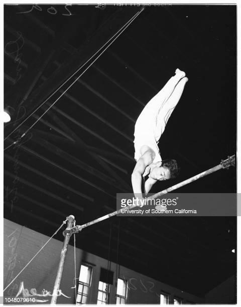 Roosevelt High School gymnasts 20 October 1948 Jose GilManuel ValdezBilly HarmatzDan Fujimoto