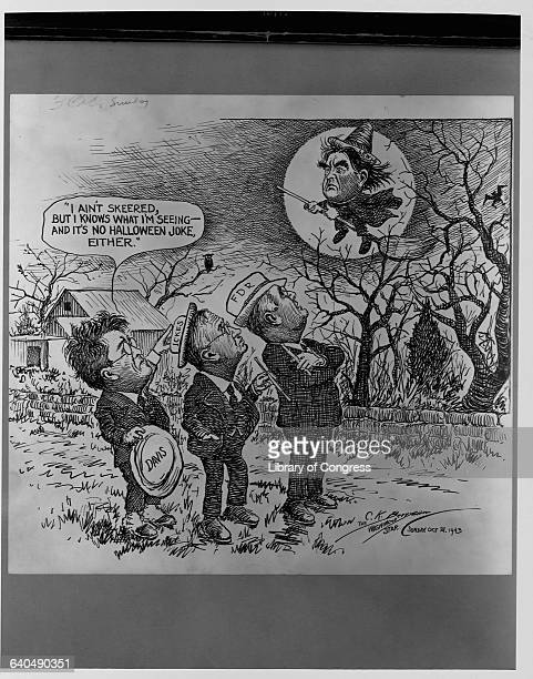 Roosevelt Ickes and Davis watching John L Lewis flying as Halloween witch 4 origianl drawings by Clifford K Berryman Cartoon collection Am Pol