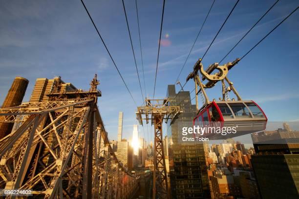 Roosevelt Island cable car with Queensboro Bridge