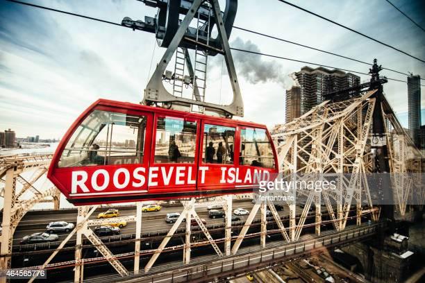 Roosevelt Island Tramway and Queensboro Bridge New York