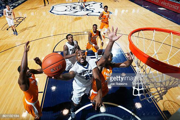 Roosevelt Jones of the Butler Bulldogs drives to the basket against the Tennessee Volunteers in the first half of the game at Hinkle Fieldhouse on...