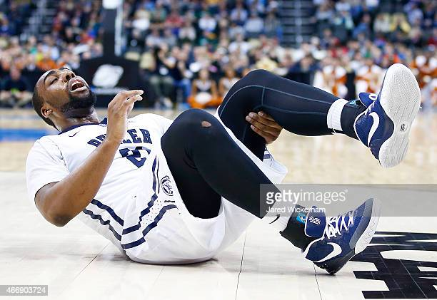 Roosevelt Jones of the Butler Bulldogs reacts after injuring his leg in the second half against the Texas Longhorns during the second round of the...