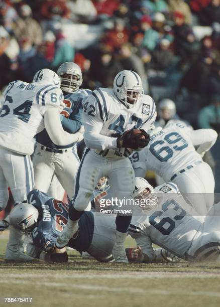 Roosevelt Potts Running Back for the Indianapolis Colts during the American Football League AFC East Division game against the New England Patriots...