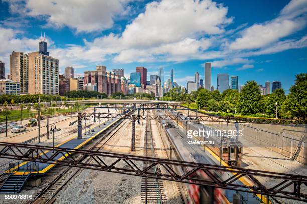 roosevelt road train station in chicago, usa - metra train stock photos and pictures