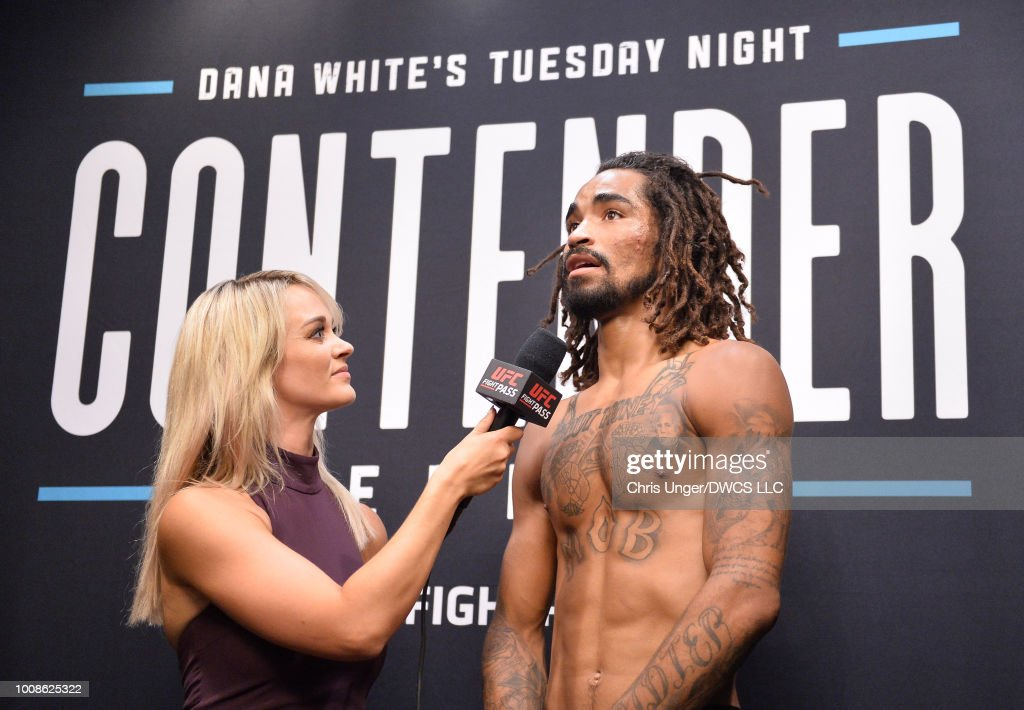 Roosevelt Roberts is interviewed by Laura Sanko after being awarded a UFC contract during Dana White's Tuesday Night Contender Series at the TUF Gym on July 31, 2018 in Las Vegas, Nevada.
