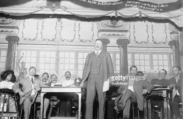 Roosevelt Speaks at Nation Negro Business League in Manhattan's Palm Garden Booker T Washington in attendance
