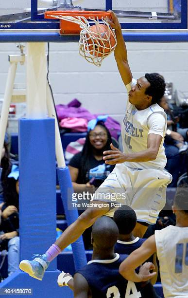 Roosevelt's Ishmail Jabbie finish a steal with a dunk late in the fourth quarter against Largo in the Prince Georges County championship game on...