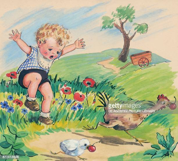A rooster and a chick escape as a child chases them children's illustration drawing