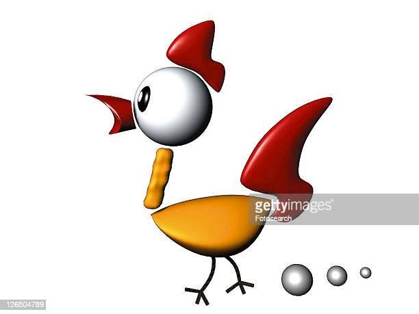 3D, rooster, cartoon, cute, animal